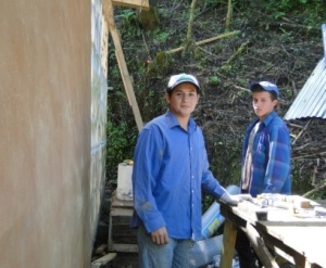 Jeison and Johan helping with construction