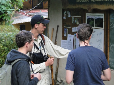 Matt at the welcome centre sharing information with some hikers