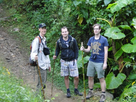 Matt leading a bird hike with visitors from Hotel Monte Azul