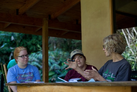 Linda's group discussing tree conservation