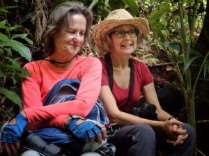 Beth and Linda taking a break after a long hike up.  This is a perfect way to catch chiggers!