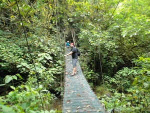 Matt, the group leader for Wilderness Inquiry - making his way across the suspension bridge
