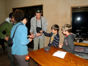 Examining snakes that Matt collected prior to the night hike