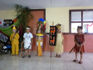 Students participating in the cultural presentation