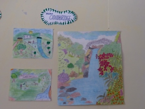 Part of the art competition. Childrens drawings depicting the Cloudbridge Nature Reserve