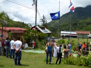 Raising the Bandera Azul flag