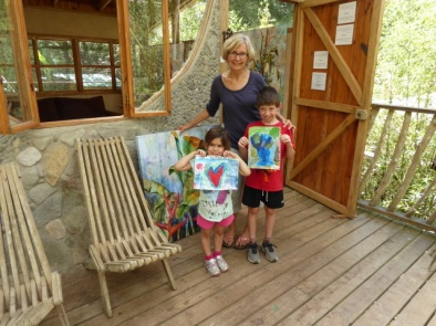 Linda has her art studio open to provide information on what is happening at the reserve.  These two little visiting artists wanted to do a painting of the forest and a valentine heart