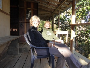 Linda And Jenny relaxing after a night hike up to the Gavalon cabin and a sleepover.  The view and the quiet up there in the remote cabin is spectacular.