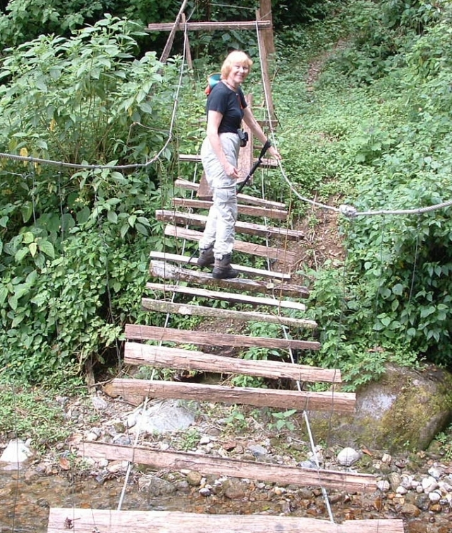 Jenny crossing the suspension bridge in 2002