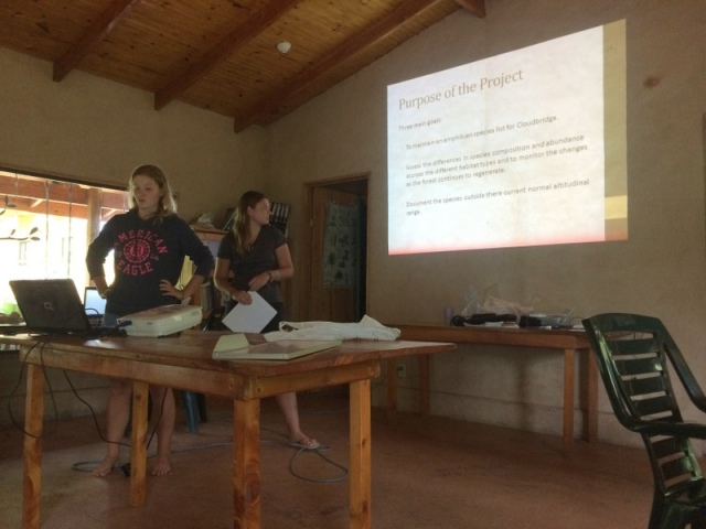 Victoria and Shannon doing their final presentation