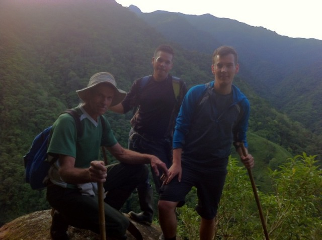 Edgar ,Oscar and Tobi at Vulture rock before sunrise to cut the border trail for the Exater research