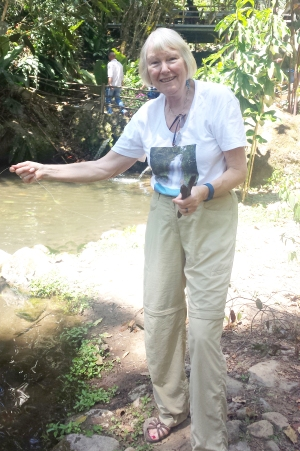 Jenny visiting the trout farm in San Gerardo.