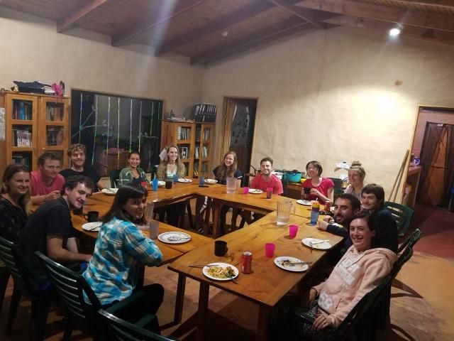 Weekly potluck dinner at Cloudbridge