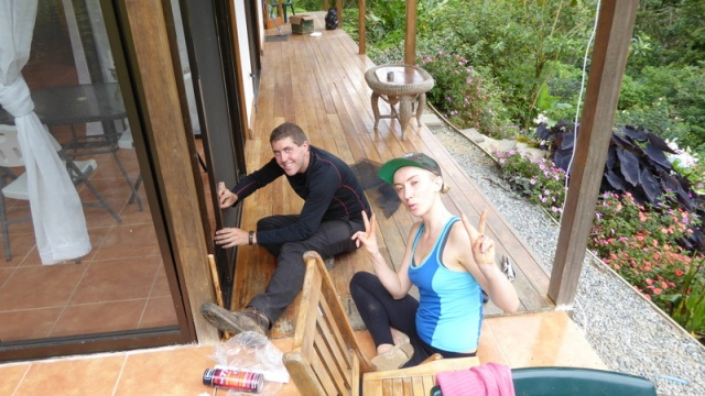 Lou and Alice repairing a screen in one of the casitas